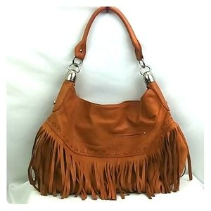 100% Leather Hobo B. Makowsky Camel Tan Bag Fringe